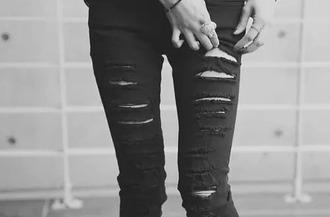 jeans black ripped skinny