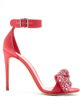bow embellished sandals satin white pink shoes