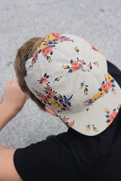 hat,grey,flowers,tumblr