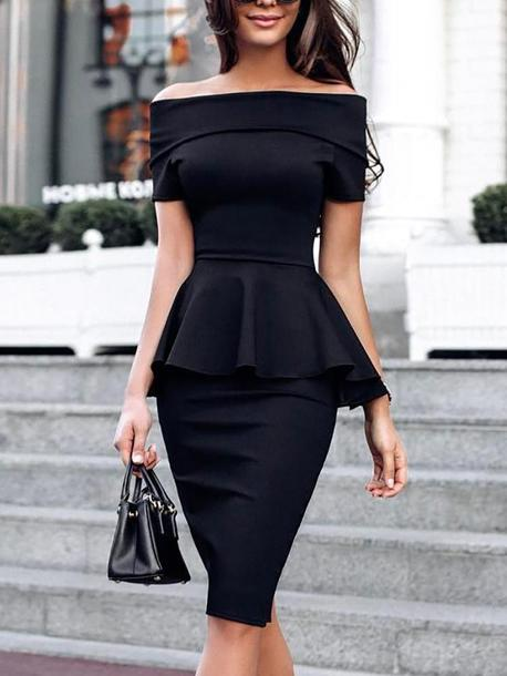dress peplum fold over black midi off the shoulder