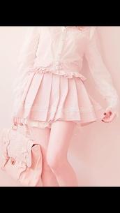 skirt,pastel,pink,blouse,bag,cute