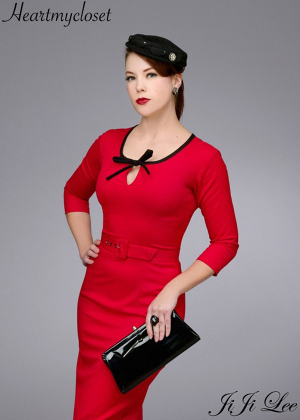dress retro Pin up red dress date dress party dress 50s dress 50s style vintage inspired vintage