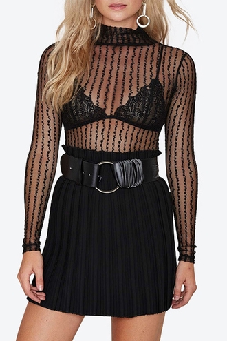 top fashion mesh sexy girly party stylish fall outfits style see through long sleeves turtleneck feminine clothes black