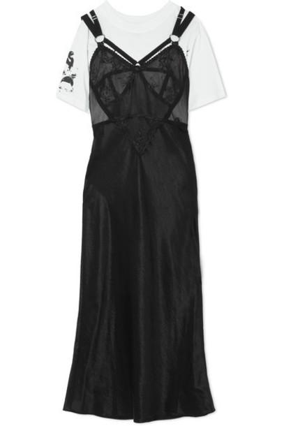 dress jersey dress layered lace cotton black satin