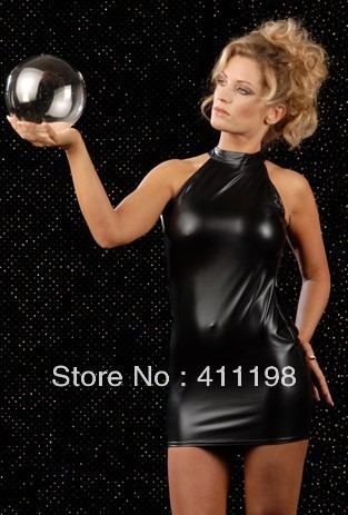 aolover wholesale women hollow out back panel black sexy dress YH803 Synthetic Leather new clothes | Amazing Shoes UK