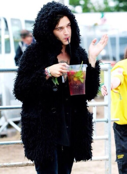 jacket black jacket matt healy faux fur black fur jacket black fur coat fur coat jacket with hood faux fur jacket
