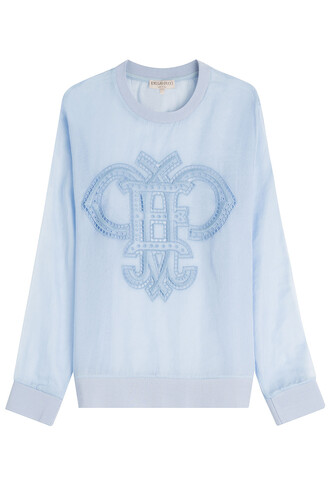 top sheer cotton blue
