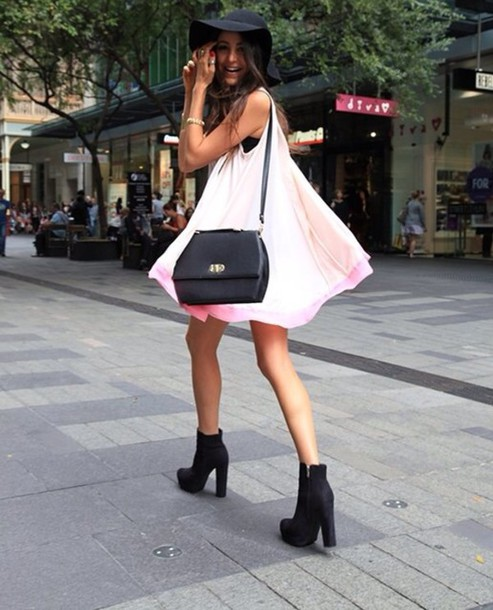 Shoes: black, suede boots, boots, little black boots, dress, pink ...