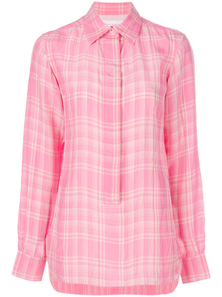 shirt plaid shirt women plaid silk purple pink top