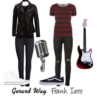 jeans gerard way frank iero edgy blouse punk grunge emo black red