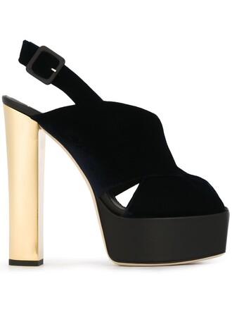 metal women sandals platform sandals leather blue velvet shoes