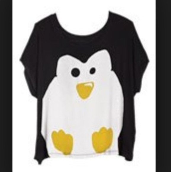 birds top birds tank top penguin crop tops black crop top