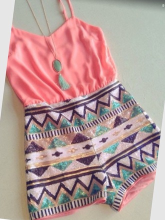 romper coral shirt aztec cute jumpsuits shorts