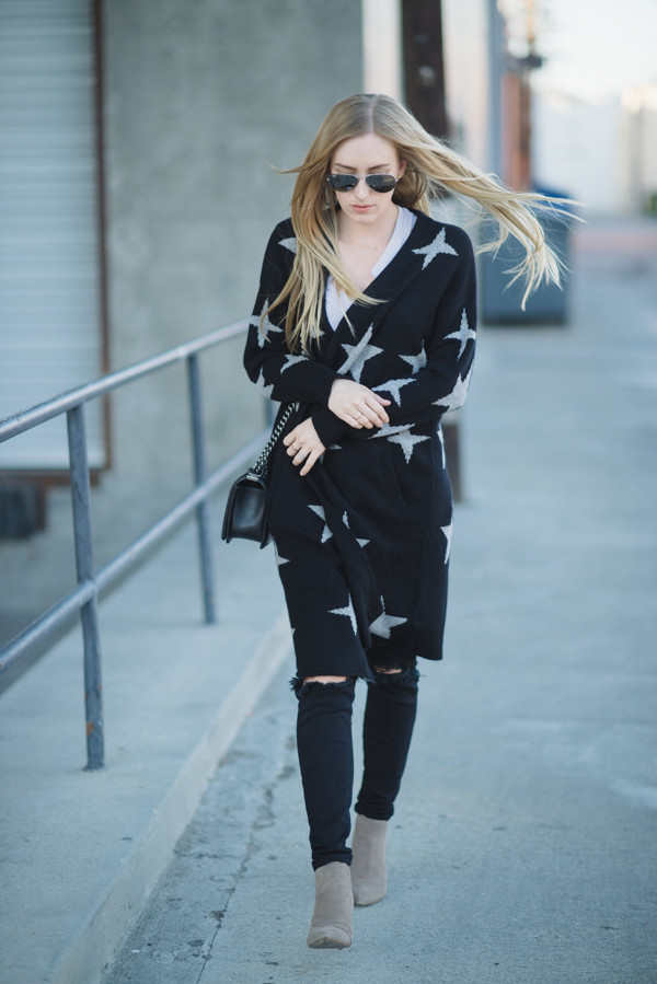 eat sleep wear blogger stars cardigan black ripped jeans