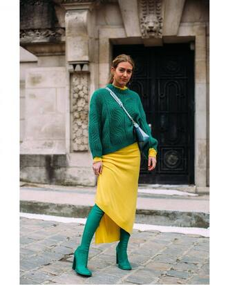 sweater green sweater knit knitwear knitted sweater dress asymmetrical yellow dress yellow boots green boots
