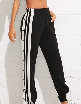 pants girly black black and white track pants joggers joggers pants snap tear away pants adidas