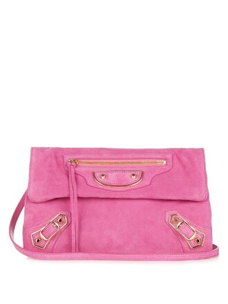 envelope clutch metallic classic clutch suede pink bag