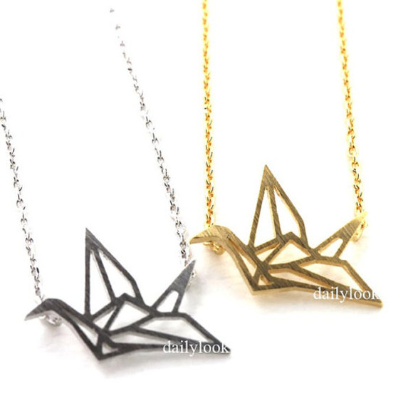 jewels necklace crane crane necklace paper crane wish necklace girls necklace birthday gift minimalist necklace bird necklace