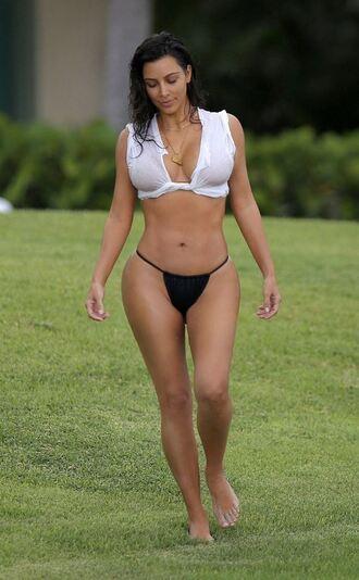 swimwear bikini bikini bottoms kim kardashian summer top kardashians