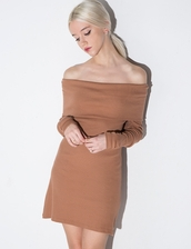 dress,brown off the shoulder knit dress,knitted dress,off the shoulder
