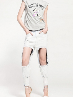 White bleached ripped holes high waist skinny leg jeans