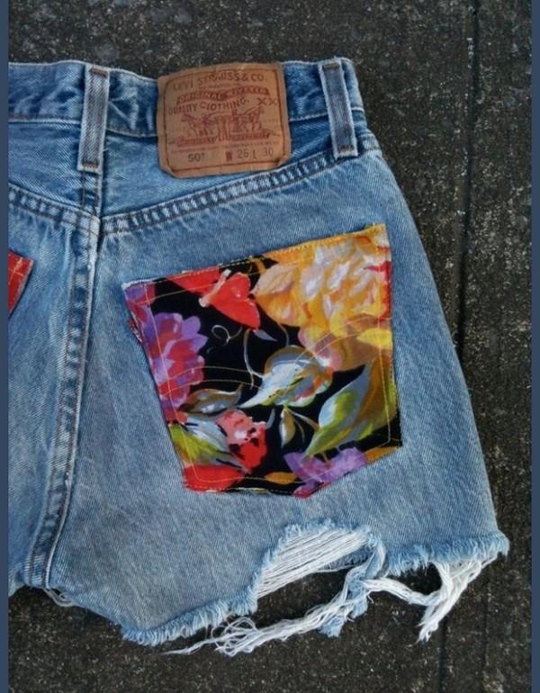shorts floral pocket jean shorts
