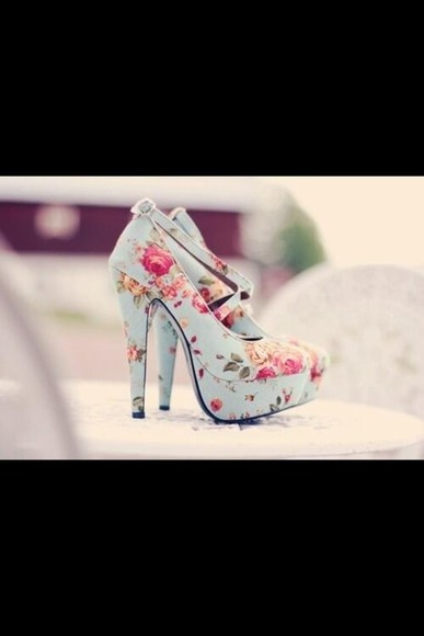 pink flowers shoes flower printed heels, cath kidston printed high heels green high heels