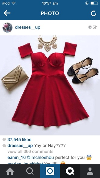 dress short red party cute