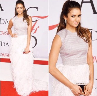dress nina dobrev feathers