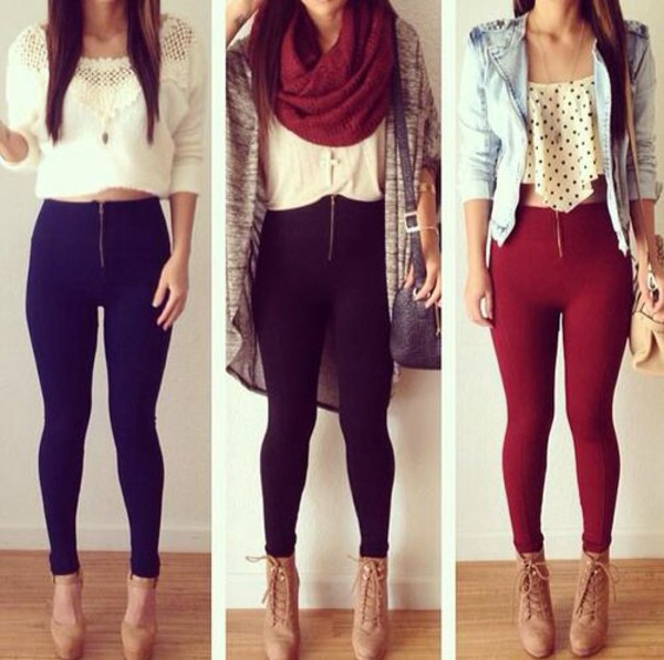 pants zipped pants leggings jacket shoes jewels scarf shirt tank top