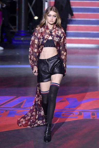 top bra bralette gigi hadid runway model london fashion week 2017 fashion week 2017 shorts tommy hilfiger dress