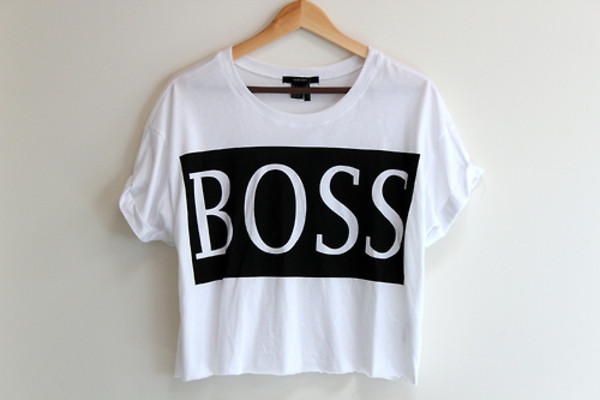 shirt boss crop top boss black and white crop top