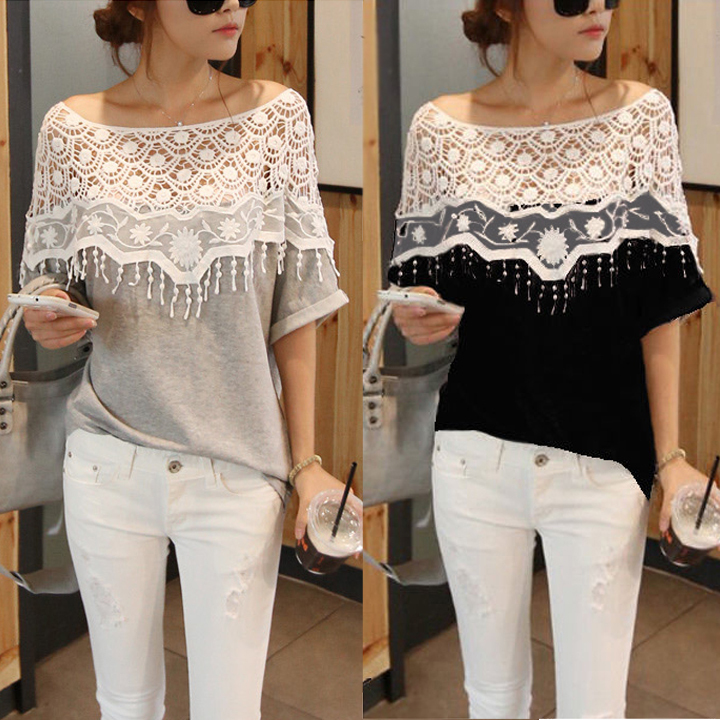 2014 New Cotton shirt for Women Handmade Crochet Cape lace Collar t shirts batwing sleeve blouse tees hollow out B26 19221#-in T-Shirts from Apparel & Accessories on Aliexpress.com | Alibaba Group
