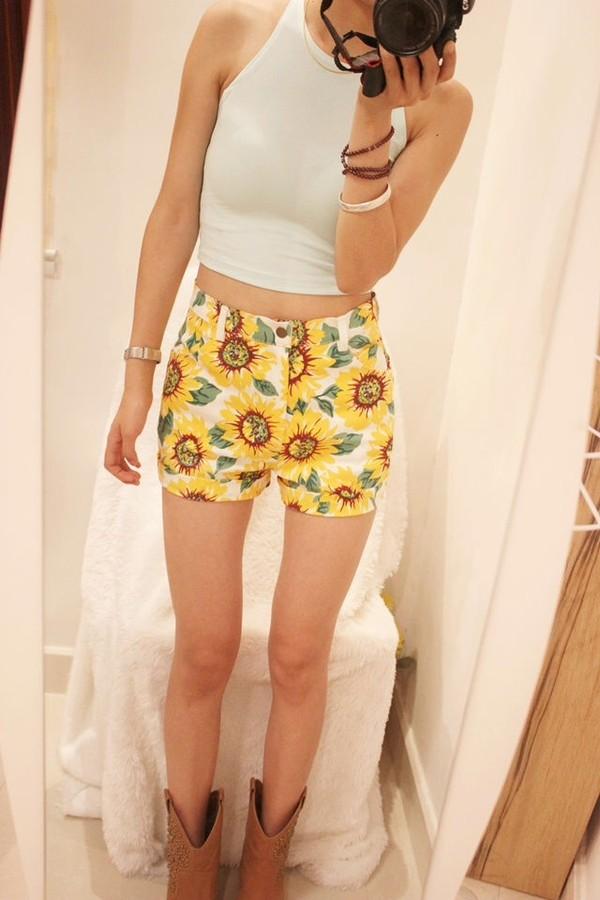 shorts sunflower sonnenblumen floral summer blumen high waisted