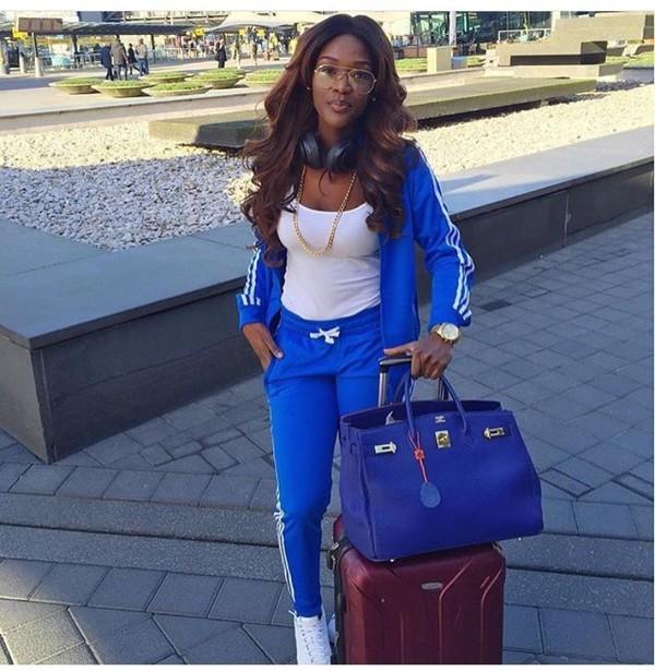 blue adidas tracksuit womens