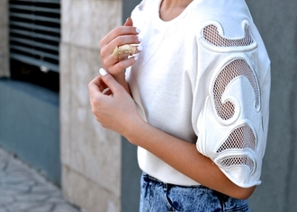 top mesh cut-out white sweater fashion denim organza nails nail polish winter outfits summer spring autum winter sweater fall outfits