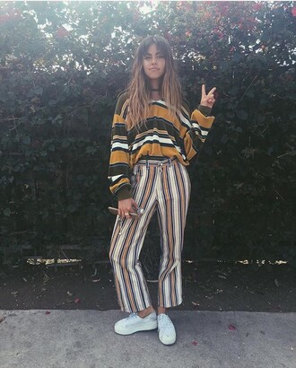pants summer hot grunge stripey hippie hippie chic stripey black and white top