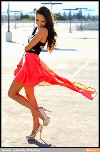 dress pink dress black top
