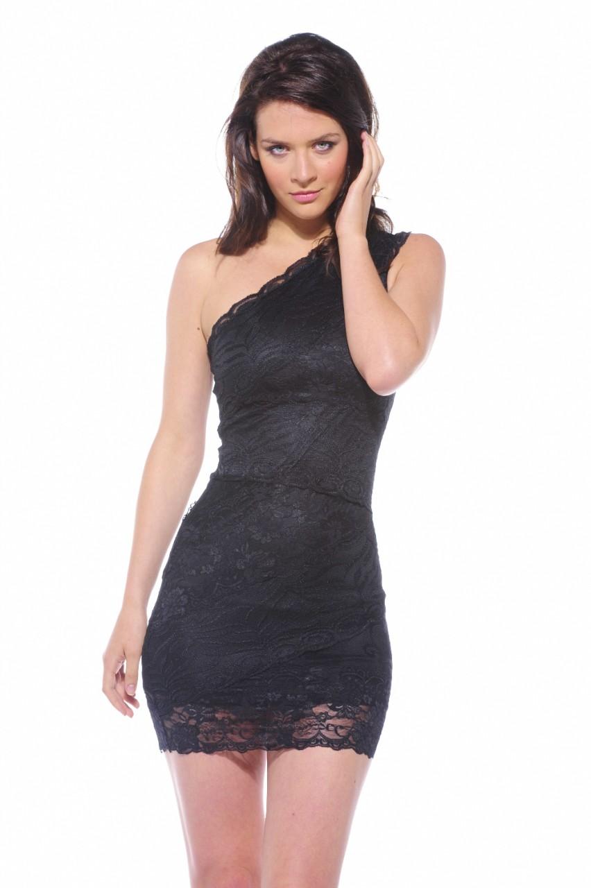 Little Black Dress - Black One Shoulder Fitted Lace | UsTrendy