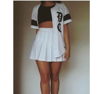 skirt tennis skirt baseball jersey instagram top