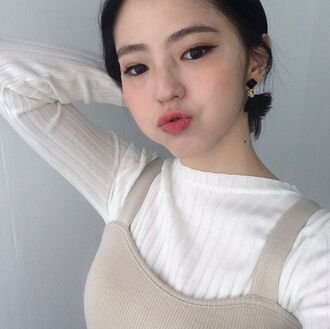sweater korean fashion korean style mixxmix white ribbed top long sleeve ribbed top
