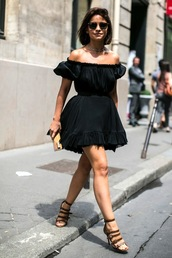 le fashion image,sunglasses,jewels,dress,bag,off shoulders dress,little black dress,off the shoulder,off the shoulder dress,summer dress,brown heels,rayban clubmaster,black dress,cold shoulder,flare dress,sandals,buckle  heals,streetstyle,miroslava duma,brown sandals,clutch,beige clutch,rayban,cold shoulder dress,flowy dress,brown high heels,black sunglasses,streetwear