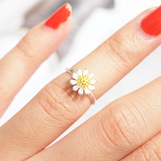 jewels summer summer handcraft daisy daisy love flowers floral flower ring knuckle ring ring armor ring engagement ring silver ring sterling silver ring gift ideas lovely gift girlfirend gift best gifts