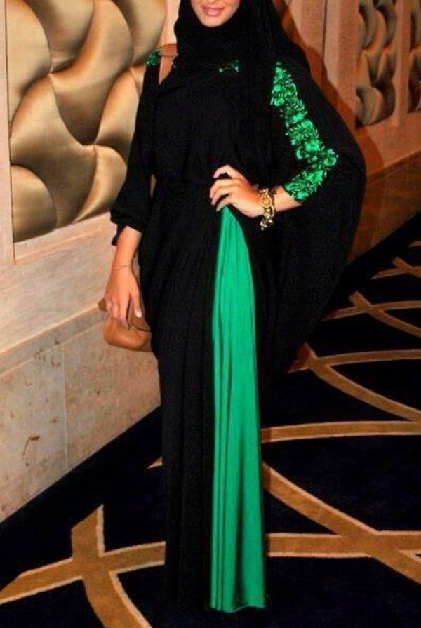 dress abaya green long cute fashion hijab black design muslim