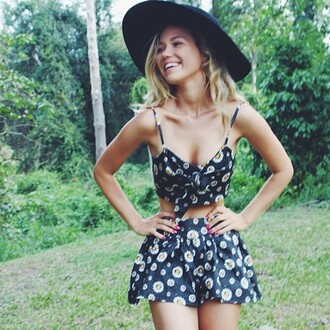 romper floral black shorts skorts daisy print set bralette top skirt summer lolita bow matching skirt and top wide brim hat strappy crop top