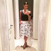 skirt,printed skirt,shiva safai,celebrity,white skirt,top,black top,crop tops,black crop top,high heel sandals,sandals,black sandals,summer outfits