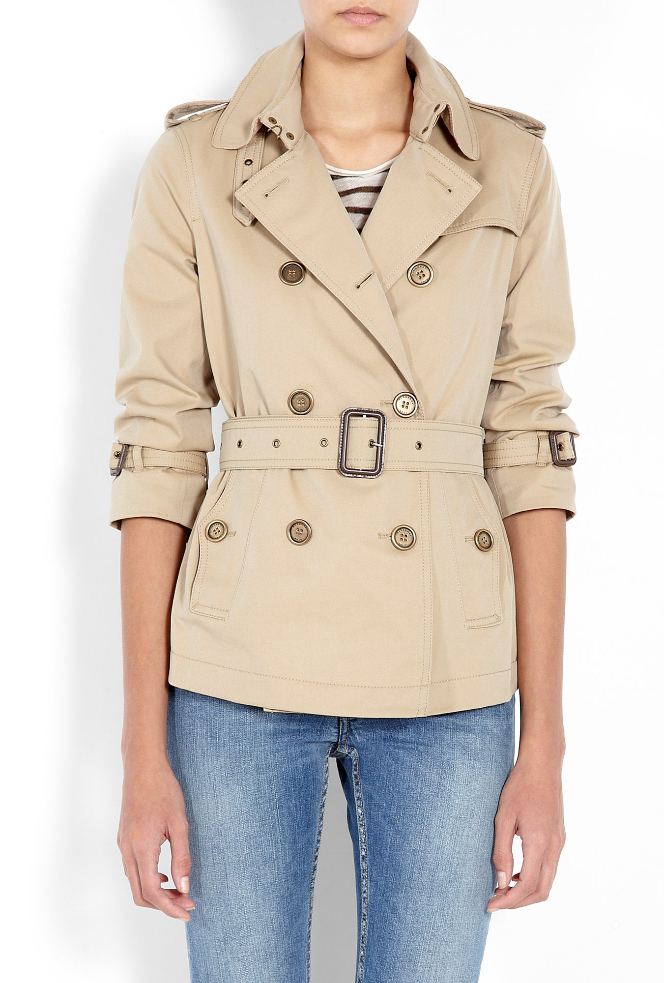 Honey cropped gabardine trench coat by burberry brit