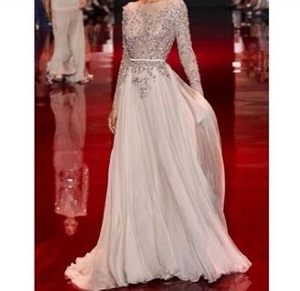 dress white dress sequin dress long sleeve dress bridal gown semi-sheer dress celebrity style classic wedding dress see through dress