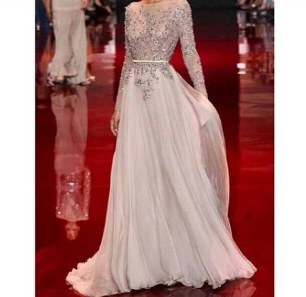 Dress white dress sequin dress long sleeve dress for Long sleeve sequin wedding dress