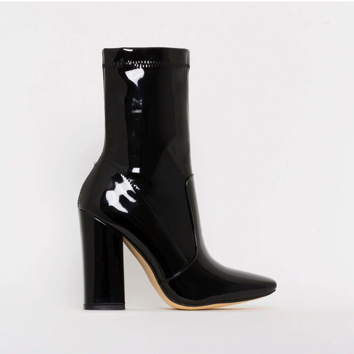 Tanya Black Patent Block Heel Ankle Boots
